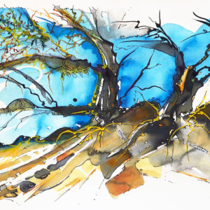 Watercolour – Strathbogie Ranges II – Artist Wyn Vogel