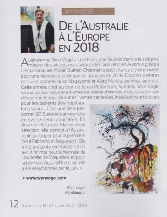Thanks to L'Art de l'Aquarelle Magazine – France for picking up on our Watercolour Exhibitions this May – 2018