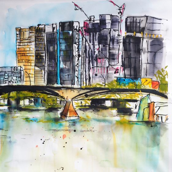 Workshop 2: Build Your Sky – Monday 4th March '19 -Learn Urban Painting Techniques Working with a view across the Brisbane River to the CBD