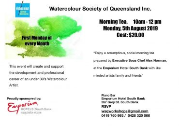 Morning Tea @ Emporium Hotel South Bank – Brisbane – Update For the 'Aussie Watercolour Muster – 2019'