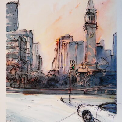 Brisbane CBD morning – Artist Tony Walker – Acrylic Ink