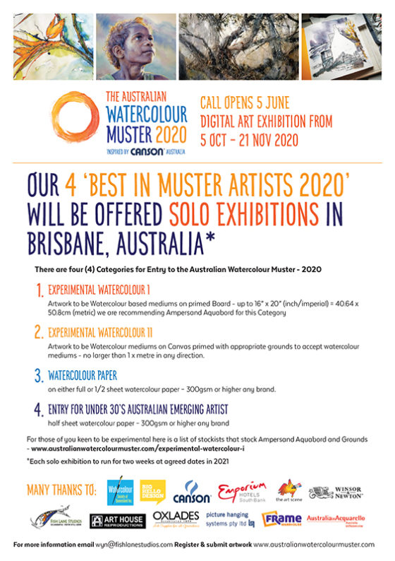 3 Months until 5th Sept '20 – 4 Categories to Enter In – The Australian Watercolour Muster 2020