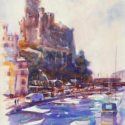 San Torenzo Castle – Artist Tony Walker – Watercolour