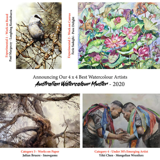 We're Proud to Announce – Our 4 x 4 Best in the Australian Watercolour Muster – 2020