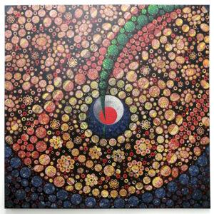 15 – Dragonfly Country – 95 x 95cm mixed media on Belgium Linen – Artist  Andre van der Kerkhoff