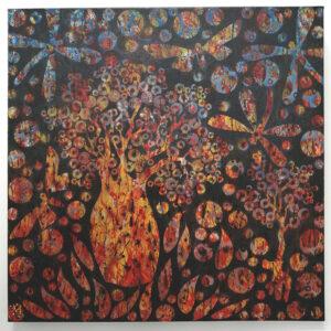 12 – Fertilising – 61 x 61cm mixed media on Canvas – Artist  Andre van der Kerkhoff
