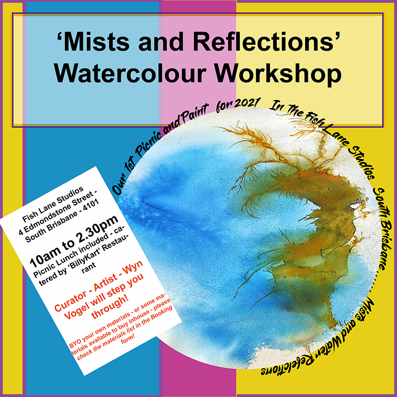 Our 1st Picnic and Paint – 2021 – Saturday 27th February – Waterfalls and Reflections – Watercolour Workshop in Brisbane