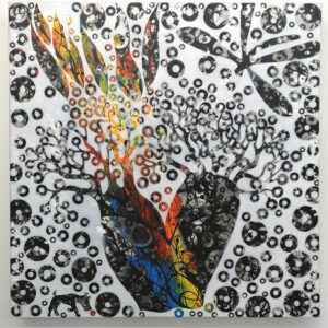 SOLD – 06 – The Burning Baobab – 61 x 61cm mixed media on canvas – Artist  Andre van der Kerkhoff