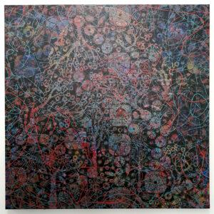 03 – The Natural Gardener – 95 x 95cm mixed media on Belgium Linen – Artist  Andre van der Kerkhoff