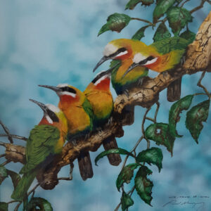 20. White Fronted Bee-Eaters – Artist Paul Margocsy – Framed Glass on Board