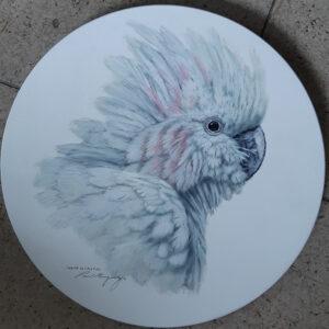 23. White Cockatoo – Round Board – Artist Paul Margocsy