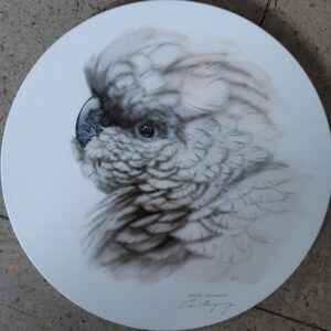 24. SOLD – White Cockatoo – Round Board – Artist Paul Margocsy