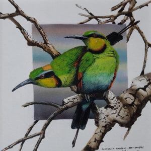 29. Rainbow Bee-Eaters – Artist Paul Margocsy – Framed Glass on Board