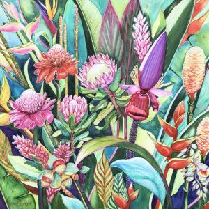 Aussie Garden – Artist Ferie Sadeghi – Watercolour on Canvas