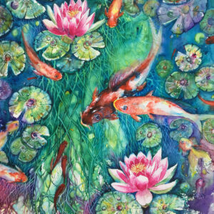 SOLD – Fish Pond – Artist Ferie Sadeghi – Watercolour on Canvas