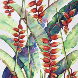 Heliconia – Artist Ferie Sadeghi – Watercolour on Canvas