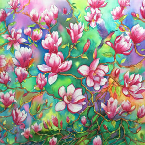 Magnolias – Artist Ferie Sadeghi – Watercolour on Canvas