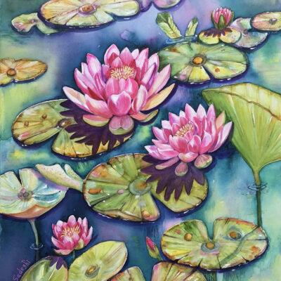 Waterlilies – Artist Ferie Sadeghi – Watercolour on Canvas